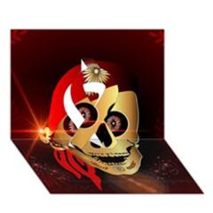 Funny, Happy Skull Ribbon 3d Greeting Card (7x5)