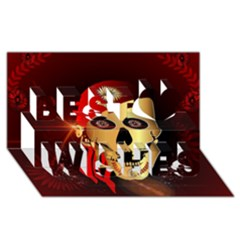 Funny, Happy Skull Best Wish 3d Greeting Card (8x4)