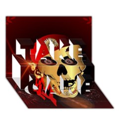 Funny, happy skull TAKE CARE 3D Greeting Card (7x5)