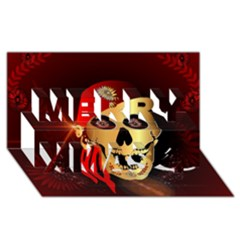 Funny, happy skull Merry Xmas 3D Greeting Card (8x4)