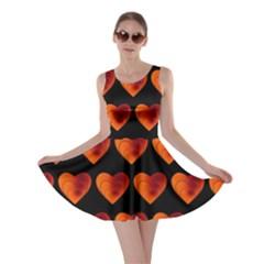 Heart Pattern Orange Skater Dresses