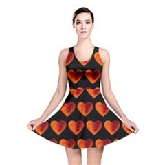 Heart Pattern Orange Reversible Skater Dresses