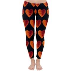 Heart Pattern Orange Winter Leggings