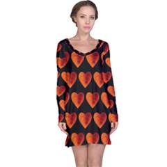 Heart Pattern Orange Long Sleeve Nightdresses
