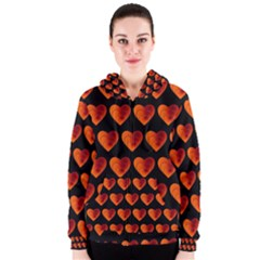 Heart Pattern Orange Women s Zipper Hoodies