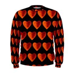 Heart Pattern Orange Men s Sweatshirts