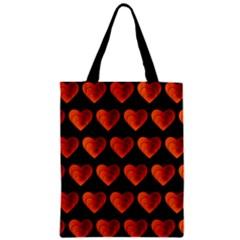 Heart Pattern Orange Zipper Classic Tote Bags