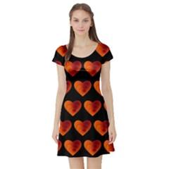 Heart Pattern Orange Short Sleeve Skater Dresses
