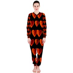 Heart Pattern Orange Onepiece Jumpsuit (ladies)