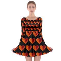 Heart Pattern Orange Long Sleeve Skater Dress