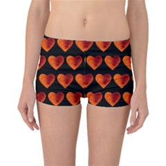 Heart Pattern Orange Boyleg Bikini Bottoms