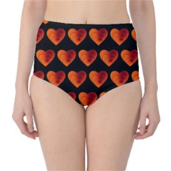 Heart Pattern Orange High-Waist Bikini Bottoms