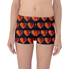 Heart Pattern Orange Reversible Boyleg Bikini Bottoms