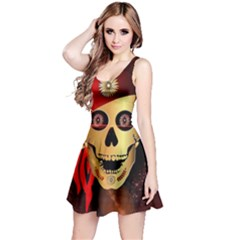 Funny, happy skull Reversible Sleeveless Dresses