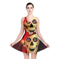 Funny, happy skull Reversible Skater Dresses