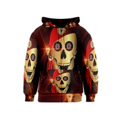 Funny, happy skull Kids Zipper Hoodies