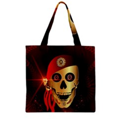 Funny, happy skull Zipper Grocery Tote Bags