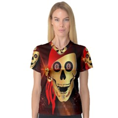 Funny, happy skull Women s V-Neck Sport Mesh Tee