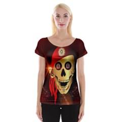 Funny, happy skull Women s Cap Sleeve Top