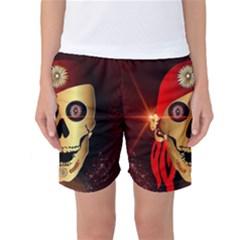 Funny, Happy Skull Women s Basketball Shorts