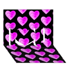 Heart Pattern Pink I Love You 3D Greeting Card (7x5)