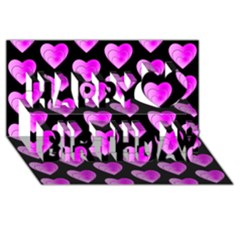 Heart Pattern Pink Happy Birthday 3d Greeting Card (8x4)