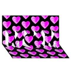 Heart Pattern Pink MOM 3D Greeting Card (8x4)