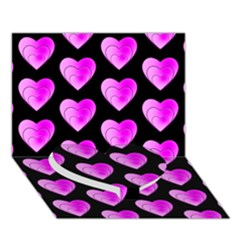Heart Pattern Pink Heart Bottom 3D Greeting Card (7x5)