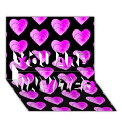 Heart Pattern Pink You Are Invited 3d Greeting Card (7x5)