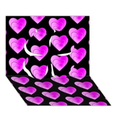 Heart Pattern Pink Clover 3D Greeting Card (7x5)