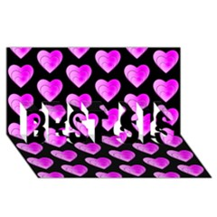 Heart Pattern Pink BEST SIS 3D Greeting Card (8x4)