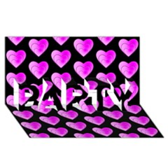 Heart Pattern Pink Party 3d Greeting Card (8x4)