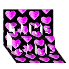 Heart Pattern Pink TAKE CARE 3D Greeting Card (7x5)