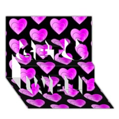 Heart Pattern Pink Get Well 3D Greeting Card (7x5)