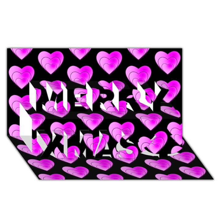 Heart Pattern Pink Merry Xmas 3D Greeting Card (8x4)