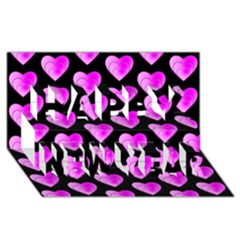 Heart Pattern Pink Happy New Year 3D Greeting Card (8x4)