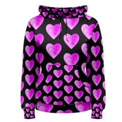 Heart Pattern Pink Women s Pullover Hoodies