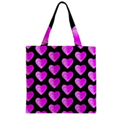 Heart Pattern Pink Zipper Grocery Tote Bags