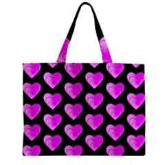 Heart Pattern Pink Zipper Tiny Tote Bags