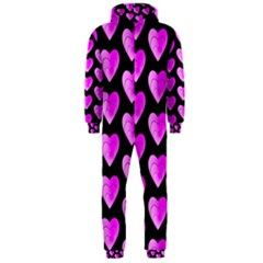 Heart Pattern Pink Hooded Jumpsuit (Men)