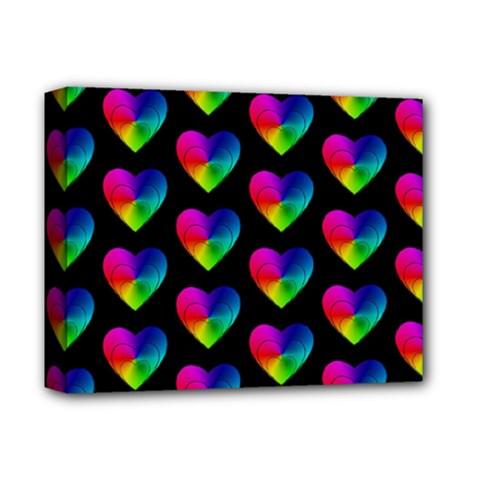 Heart Pattern Rainbow Deluxe Canvas 14  x 11