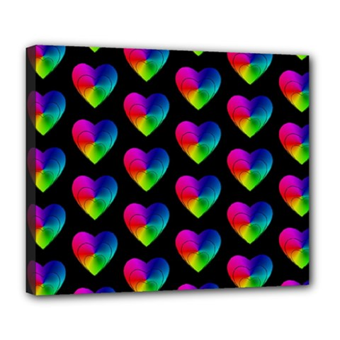 Heart Pattern Rainbow Deluxe Canvas 24  x 20