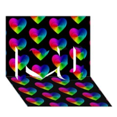 Heart Pattern Rainbow I Love You 3D Greeting Card (7x5)