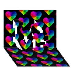 Heart Pattern Rainbow LOVE 3D Greeting Card (7x5)