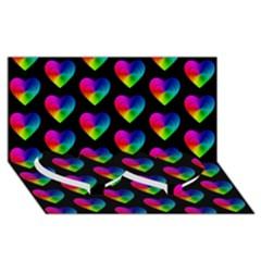 Heart Pattern Rainbow Twin Heart Bottom 3D Greeting Card (8x4)