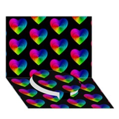 Heart Pattern Rainbow Circle Bottom 3D Greeting Card (7x5)