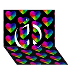 Heart Pattern Rainbow Peace Sign 3D Greeting Card (7x5)