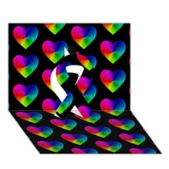 Heart Pattern Rainbow Ribbon 3d Greeting Card (7x5)