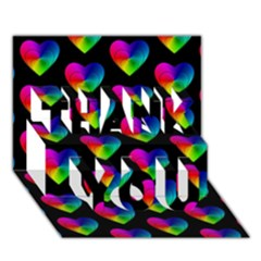 Heart Pattern Rainbow THANK YOU 3D Greeting Card (7x5)