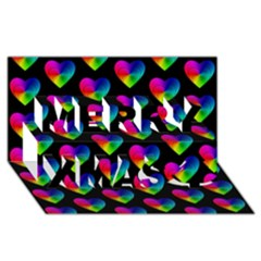 Heart Pattern Rainbow Merry Xmas 3D Greeting Card (8x4)